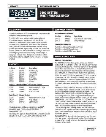 3600 SYSTEM MULTI-PURPOSE EPOXY - RustoleumIBG.Com