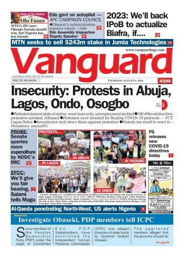 06082020 - Insecurity: Protests in Abuja, Lagos, Ondo, Osogbo
