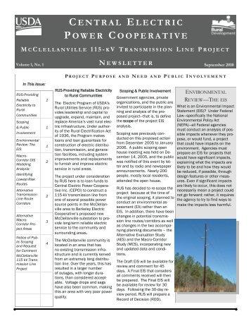 central electric power cooperative - USDA Rural Development