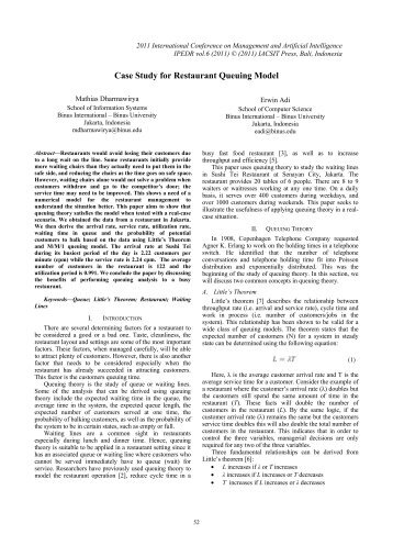 case study for restaurant queuing model