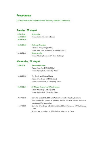 Programme - 13th International Cereal Rust and Powdery Mildew ...