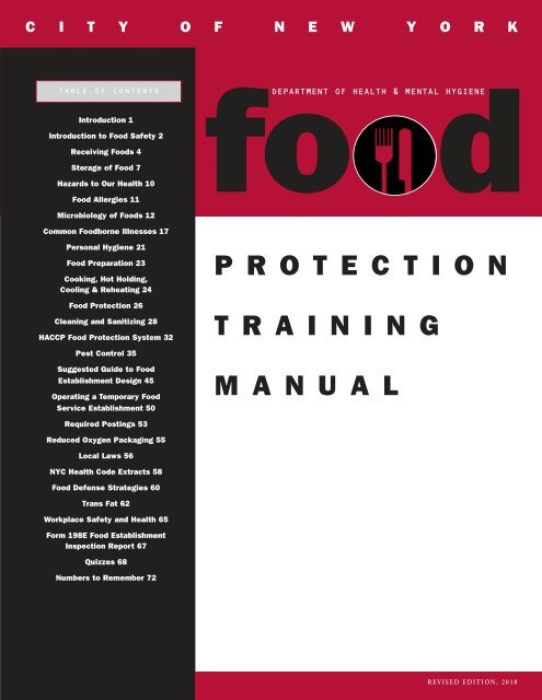 Food Protection Course Training Manual Nycgov