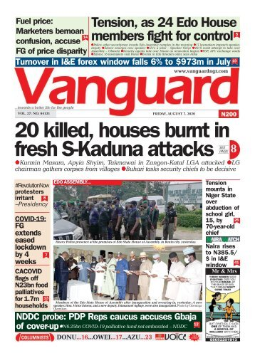 07082020 - 20 killed, houses burnt in fresh S-Kaduna attacks