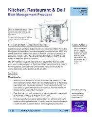 Kitchen, Restaurant & Deli Best Management Practices