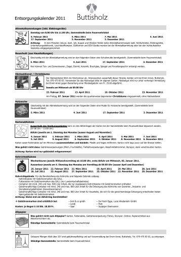 Entsorgungskalender 2011 - Gemeinde Buttisholz