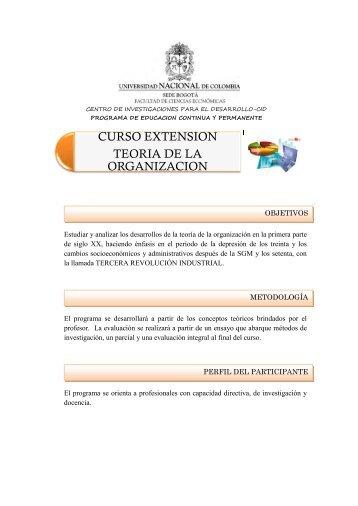 CURSO EXTENSION TEORIA DE LA ORGANIZACION - Centro de ...