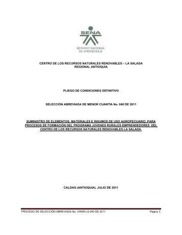 Pliegos de Condiciones definitivos - Sena