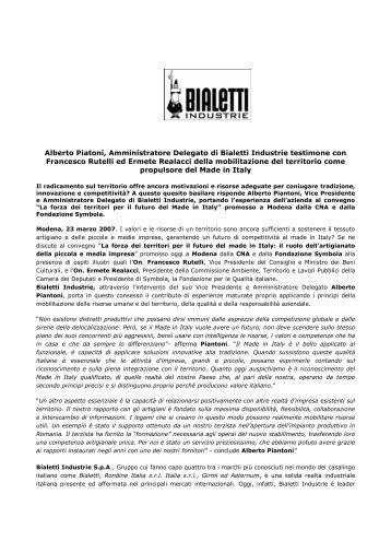 Alberto Piatoni, Amministratore Delegato di Bialetti Industrie ...