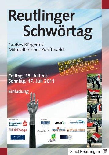 Vorabend zum Reutlinger Schwörtag ... - Stadt Reutlingen