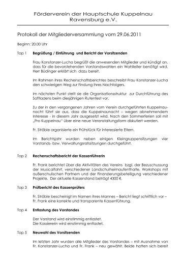 Protokoll der Mitgliederversammlung vom 29.06.2011