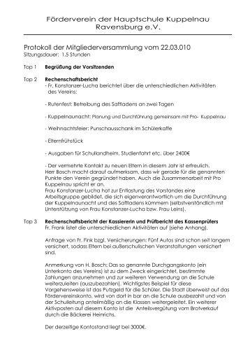 Protokoll der Mitgliederversammlung vom 22.03.010
