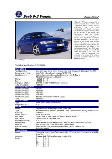 99 Saab 9-3 Viggen - Motorsports Almanac