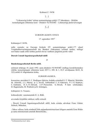 """Kohtuasi C- 54/96 […] """"Liikmesriigi kohtu"""" mõiste asutamislepingu ..."""