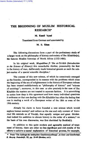 THE BEGINNING OF MUSLIM HISTORICAL RESEARCH*