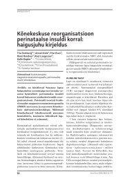 Kõnekeskuse reorganisatsioon perinataalse insuldi korral - Eesti Arst