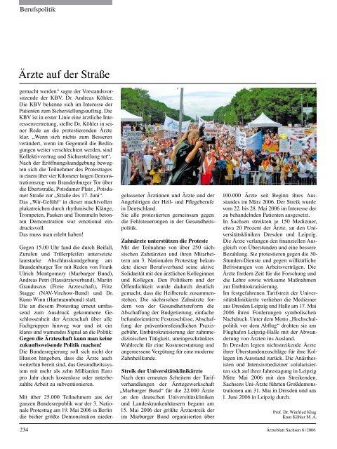 Ärzteblatt Sachsen 06/2006 - Sächsische Landesärztekammer