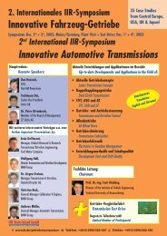 2nd International IIR-Symposium Innovative Automotive Transmissions