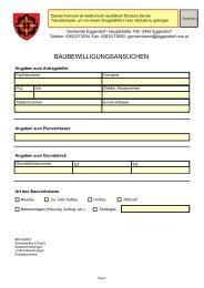 BAUBEWILLIGUNGSANSUCHEN - Gemeinde Eggendorf