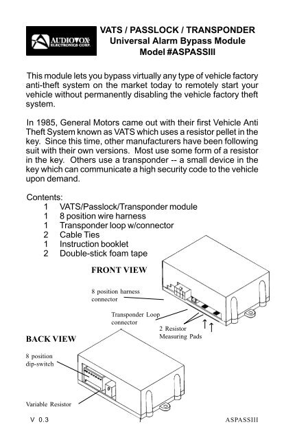 1998 chevy s10 passlock wiring diagram vats passlock transponder universal alarm bypass  vats passlock transponder universal