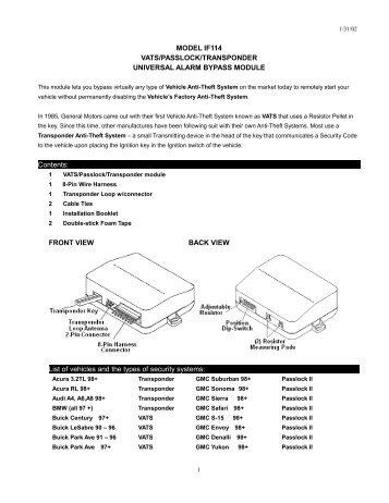 Model If114 Vats/passlock/transponder Universal ... - Bulldog Security