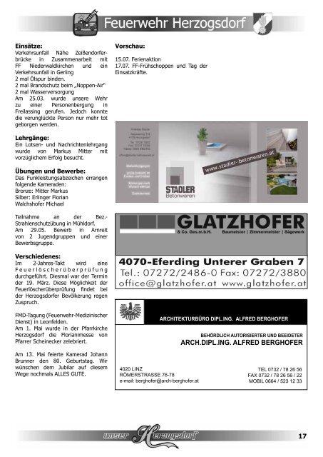 Pfarrleben in Herzogsdorf | Gruppen, Treffen - Dizese Linz