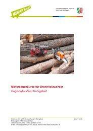 Motorsägen-Grundkurs + Aufbaukurs B (2 Tage) - Wald und Holz NRW