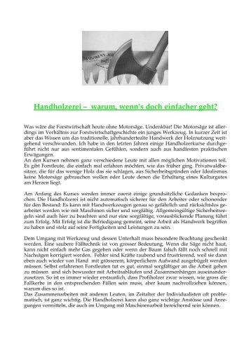 Handholzerei - Bergwaldprojekt
