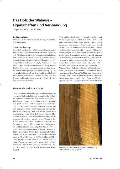 Das Holz Der Walnuss Eigenschaften Und Verwendung