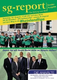 SG-Report - Sonderausgabe zum B-Jugend-Relegationsspiel am 22.08.2020