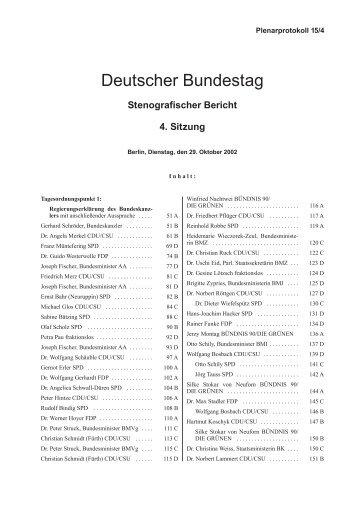 Stenografischer Bericht 4. Sitzung - Deutscher Bundestag