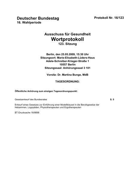 Ausschuss für Gesundheit Wortprotokoll - IPP - Universität Bremen