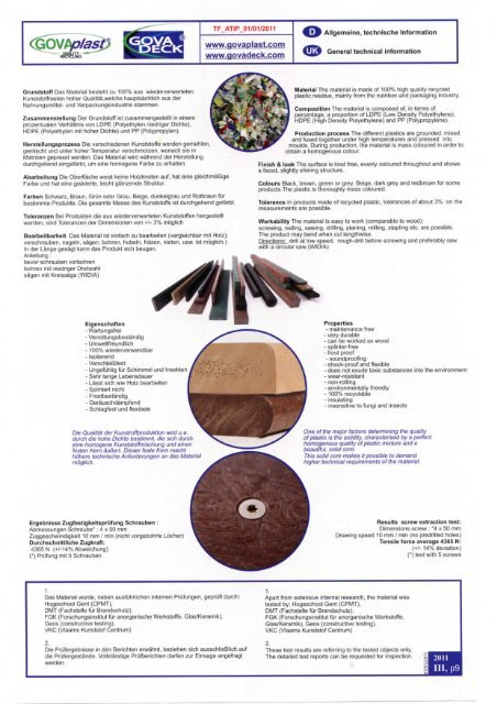 Govaplast Materialeigenschaften - Krone Kunststoffsysteme