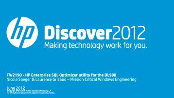 TW2190 - HP Enterprise SQL Optimizer utility for the ... - HP Discover