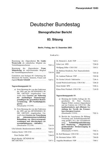 83. Sitzung - Deutscher Bundestag