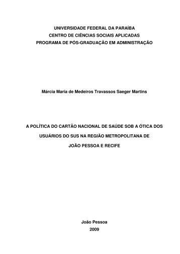 Ler dissertação - Centro de Ciências Sociais Aplicadas - UFPB