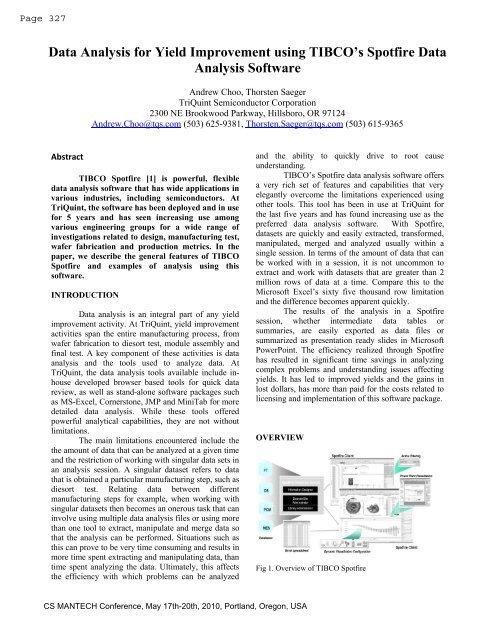 Data Analysis For Yield Improvement Using Tibco S Spotfire Tibco