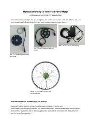 Montageanleitung für Vorderrad Power Motor - Elektro Fahrrad