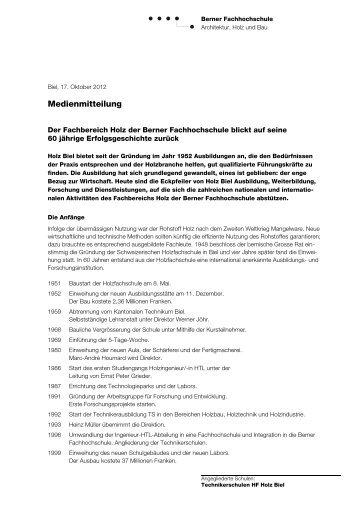 Medienmitteilung - Hochschule für Architektur, Holz und Bau AHB ...