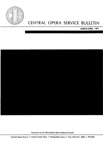 Central Opera Service Bulletin - Cultural Policy and the Arts National ...