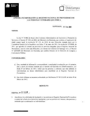 Resolución Proveedores Inscritos Enero 2012 - ChileProveedores