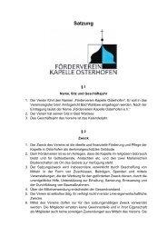 Kapelle Osterhofen Förderverein Satzung