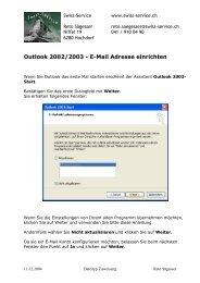 Outlook 2002/2003 - E-Mail Adresse einrichten - Swiss-Service