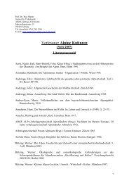 Alpine Kulturen - Institut für Volkskunde