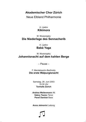 Programmheft - Akademischer Chor Zürich - ETH Zürich
