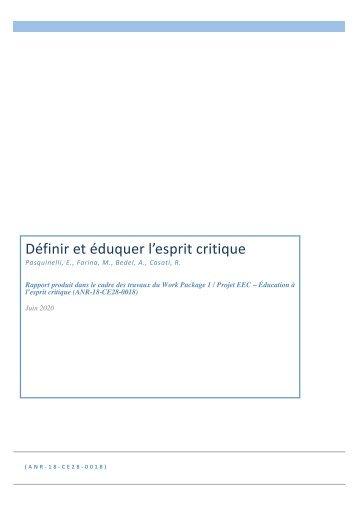 RAPPORT ANR - Définir et Eduquer l'esprit critique