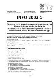 """WICHTIG 31.01.2003 Vortrag """"Erkrankungen des Arabischen Pferdes"""""""