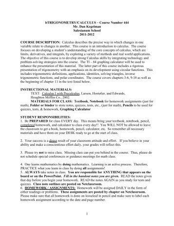 444 Trig/Calc Phase 4 Course Syllabus - Salesianum School