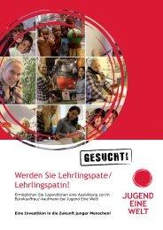 Broschüre Lehrlinspatenschaft - Jugend Eine Welt