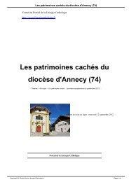 Les patrimoines cachés du diocèse d'Annecy (74) - Liturgie catholique