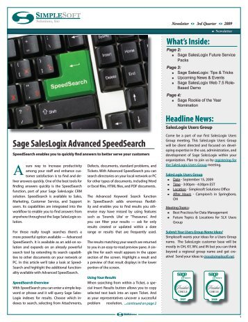 Sage SalesLogix Advanced SpeedSearch - Simplesoft Solutions, Inc